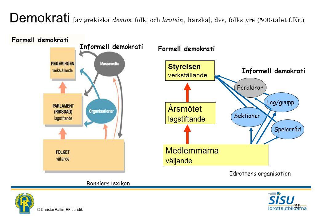 Demokrati [av grekiska demos, folk, och kratein, härska], dvs, folkstyre (500-talet f.Kr.)